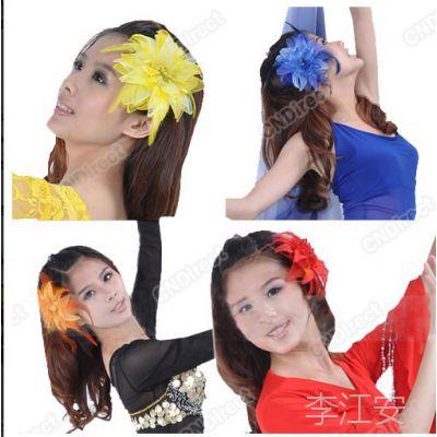 韩国饰品批发舞蹈头花儿童手腕花布艺羽毛多色可选支持混批现货