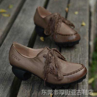 2015秋季文艺复古羊皮单鞋女 民族风森女系手工外贸蕾丝休闲皮鞋