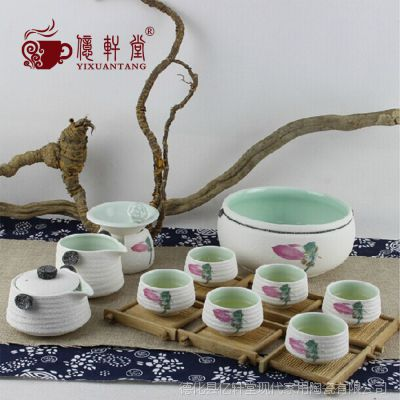 陶瓷雪花釉荷花功夫茶具整套 日式粗陶手抓壶泡茶器礼品特价批发
