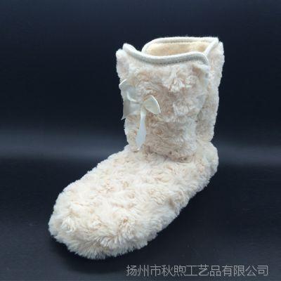 外贸冬季棉靴 环保毛绒居家室内地板女款式拖鞋包跟棉靴