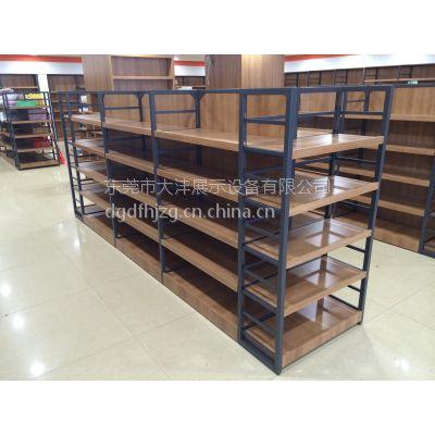 大沣DF-033进口商品食品可调节铁木结合货架精品超市货架展示柜
