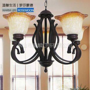 供应[富麟灯饰]铁艺欧式个性风格 客厅餐厅卧室房间吊灯具80157/5