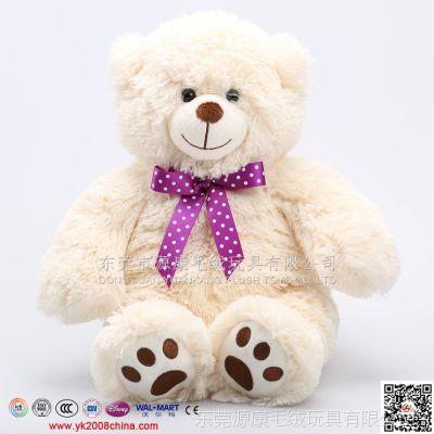 坐姿毛绒小熊公仔 女生紫色蝴蝶结熊娃娃 情人节礼品玩偶 厂家