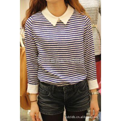 供应韩国进口正品女装新款时尚小翻领条纹女式衬衫打底衫上衣批发2B06