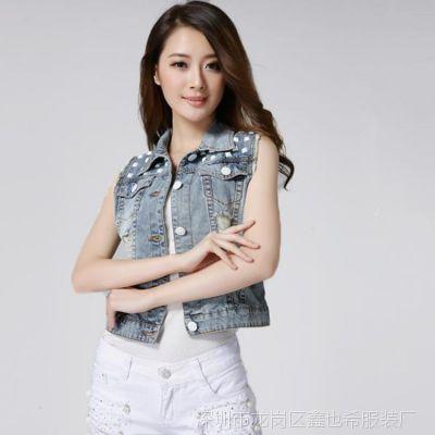 2015新款时尚韩版百搭修身女款破洞珠片牛仔马甲无袖短外套上衣