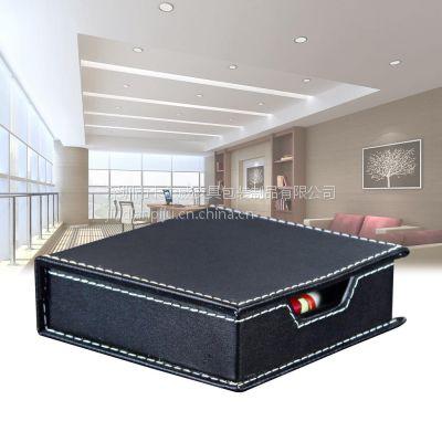 卡尔威供应办公皮具用品便签盒皮质便签收纳盒黑色皮革便签纸盒定制