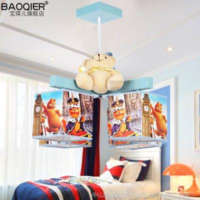 加菲猫儿童吊灯四头蓝色男孩房吊灯