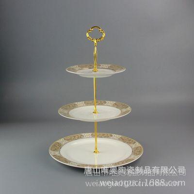 批发骨质瓷三层创意点心盘 定制欧式陶瓷蛋糕盘 干果水果盘西餐盘