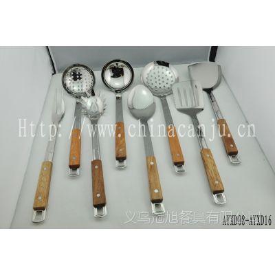 【厂家供应】新花型木夹柄 锅铲漏勺 不锈钢厨具 韩式厨具  201