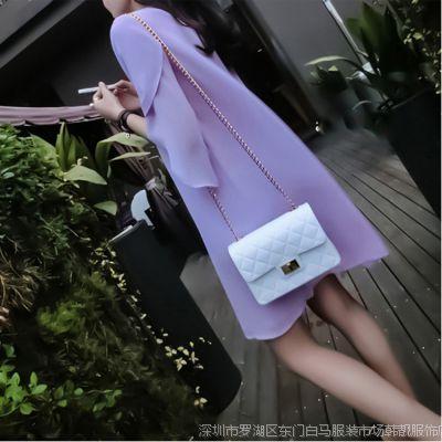 韩国东大门新款 优雅喇叭袖宽松显瘦连衣裙 2113