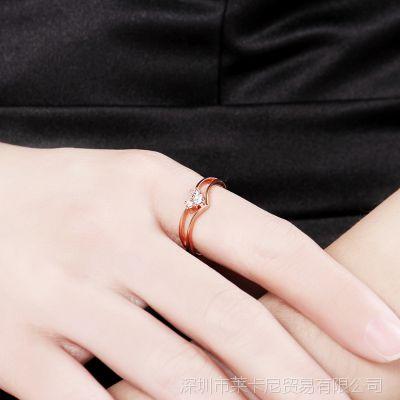 玫瑰金镶钻戒指 经典大牌仿真首饰 18K合金饰品防过敏 真金电镀