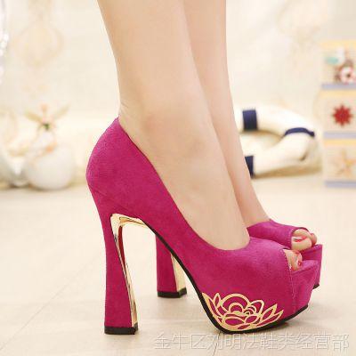 超高跟单鞋女士春夏鱼嘴凉鞋子粗跟欧美夜店高跟鞋韩国公主防水台