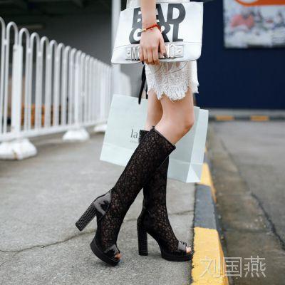 韩版新款高跟鞋粗跟凉鞋英伦风凉靴性感网纱夜店鱼嘴女鞋