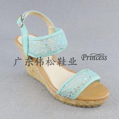 外贸蕾丝鱼嘴凉鞋女新款平底坡跟女式凉鞋欧美高跟女凉鞋厂家直销