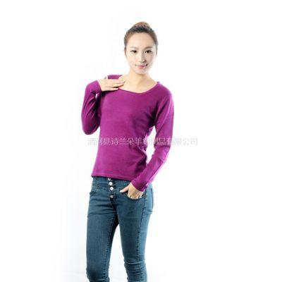 供应2012女士秋冬新款U领短款平面羊绒衫 套头毛衣女 针织衫打底衫女