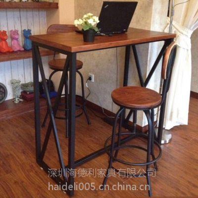 海德利热销定制 实木长方形餐桌 美式酒吧餐厅餐桌 批量