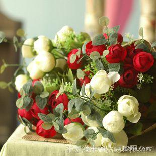 乡村田园家居 装饰花仿真花假花绢花 情人节花 英伦小玫瑰 2色选