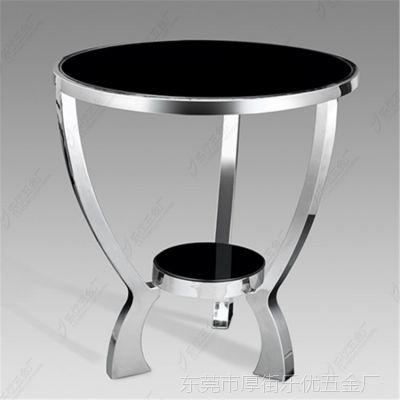 东莞 厂家直销 黑色钢化玻璃三脚角几 双层几 五金家具 玻璃茶几