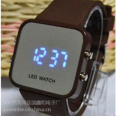 韩版led硅胶电子手表 可公司印刷LOGO 学生男女款个性镜面时装表