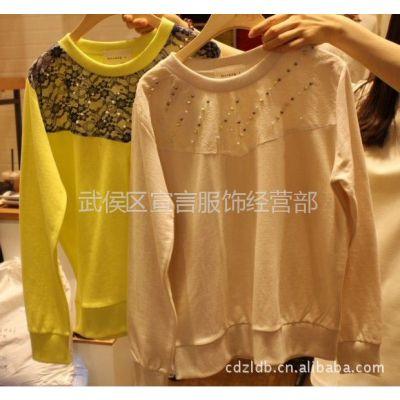 供应韩国东大门女装拼贴蕾丝钉珠女式T恤长袖打底衫 2F15