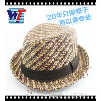 夏季新款遮阳草帽礼帽爵士帽男士 欧美时尚沙滩翻边太阳帽