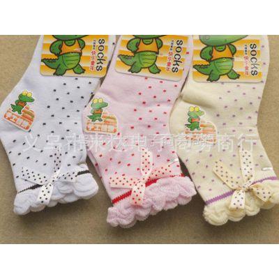 供应批发香港鳄鱼仔女童夏季薄棉袜/手工缝头蝴蝶结公主袜
