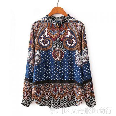 2015春夏新款 厂家直销 欧美时尚立领仿真丝定位衬衣女式衬衫