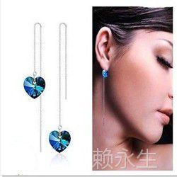 S925纯银耳线批发 海洋之心耳线 奥地利水晶耳饰 韩国银饰品