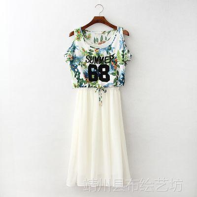 RGUP 3174 专柜新款两件套印花雪纺刺绣上衣+背心连衣裙长裙批发