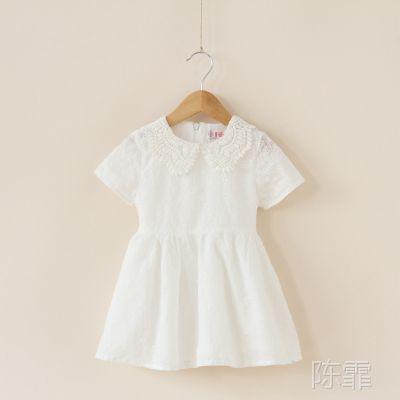 外贸童装  女童  镂空刺绣蕾丝领短袖公主连衣裙   Y0409-58-1