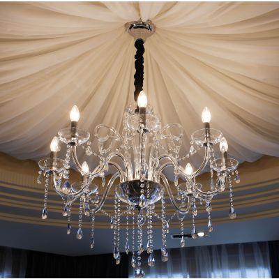 中元之光 现代高档客厅水晶灯 走廊时尚玻璃弯管吊灯 精致美观金属臂吊灯