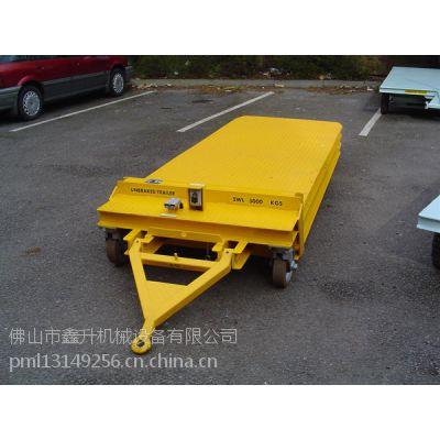 平板牵引车 机场/码头牵引式平板拖车 鑫升围框护栏拖车板车