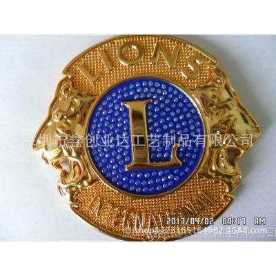 南京锌合金立体车标定厂家直销 高档镀金车标报价 香港狮子会车标销售价格