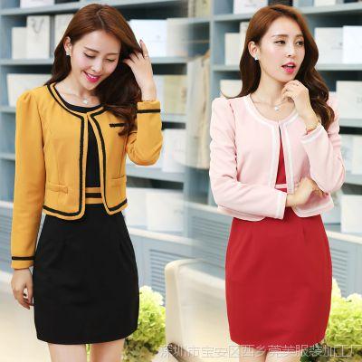 2015春季新款韩版圆领包臀连衣裙修身显瘦时尚百搭外套长袖套装