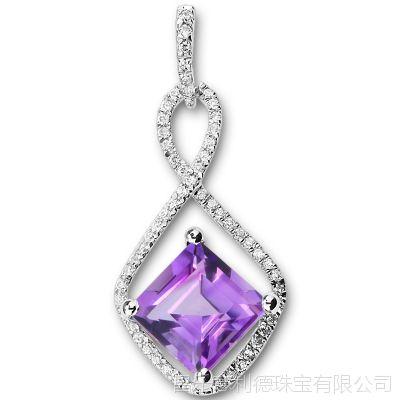 批发 925纯银镀白金 防过敏 天然紫水晶吊坠 水晶饰品混批银饰
