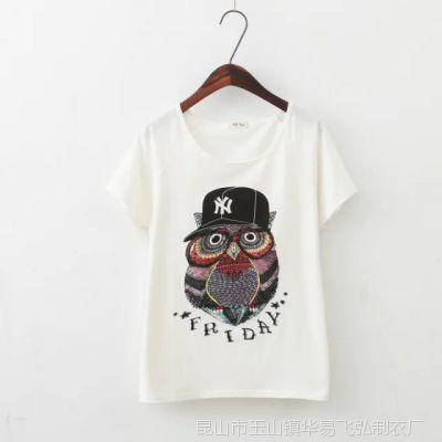 2015夏装新款短袖T恤女猫头鹰圆领纯棉短款上衣AA风T恤衫夏