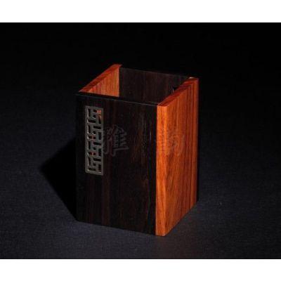 供应风车纹长方形笔筒 花梨木笔筒 紫光檀笔筒 红木商务礼品 可定制