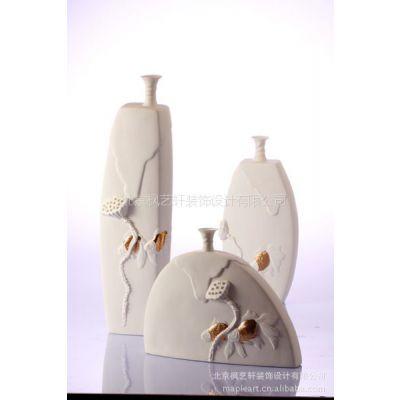 供应陶瓷花瓶三件套摆件 景德镇陶瓷  艺术花瓶 枫艺轩软装