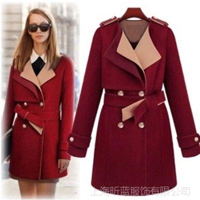 新款秋冬装韩版时尚拼色翻领系腰带双排扣修身毛呢长款大衣外套女