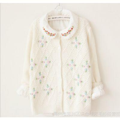 2014秋季新款毛衣女 日系可爱绣花针织开衫 长袖女式针织衫