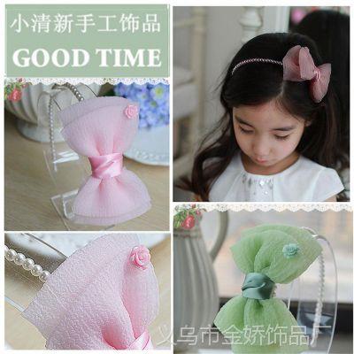 新品尝鲜韩版时尚儿童头饰 清凉泡泡沙大蝴蝶结头箍 女童珍珠发箍