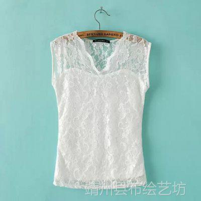 LTB-0161EP 2015夏装新款 甜美V领蕾丝飞飞袖女式上衣 修身蕾丝衫