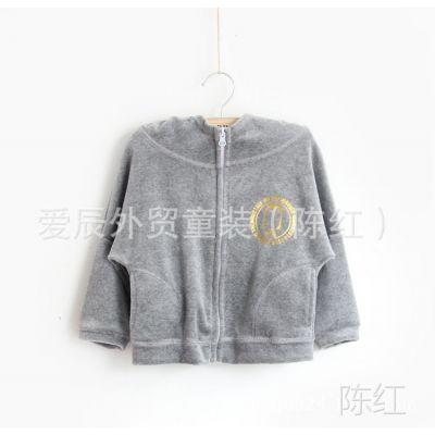 wy14-020【韩单】MOMO金丝绒外套金色logo可搭配成套卫衣蝙蝠袖