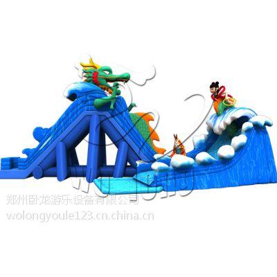 充气式水上乐园 郑州卧龙可移动大型嬉水滑梯 充气游泳池