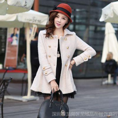 女士毛呢外套 2014韩版女装修身中长款毛呢风衣 大衣女