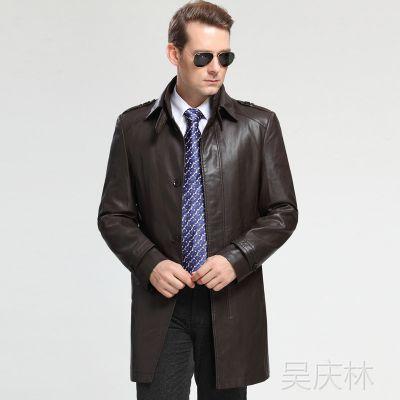 柒牌男装真皮男式皮衣中长款绵羊皮皮衣中老年大码皮夹克外套正品