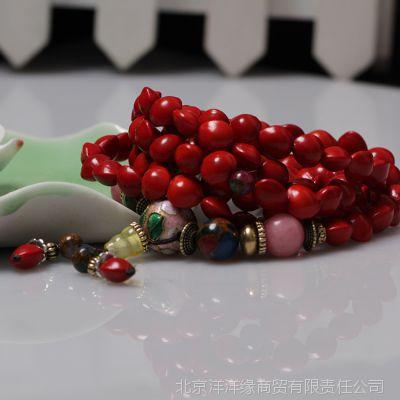 【热卖】批发天然红心菩提手链 108颗佛珠手链 相思豆血菩提手串