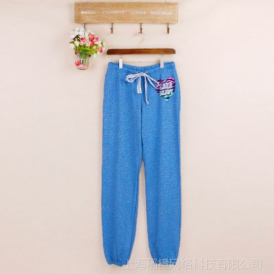 外贸原单  休闲长裤  腰部抽带个性亮丝喷漆字母收裤脚运动裤P53B