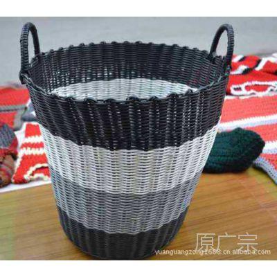 厂家批发塑料管手工编织洗衣筐 脏衣篓 大号新储物篮子收纳筐
