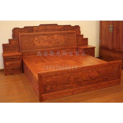 西安老榆木床│仿古实木床│红木床│实木家具供应
